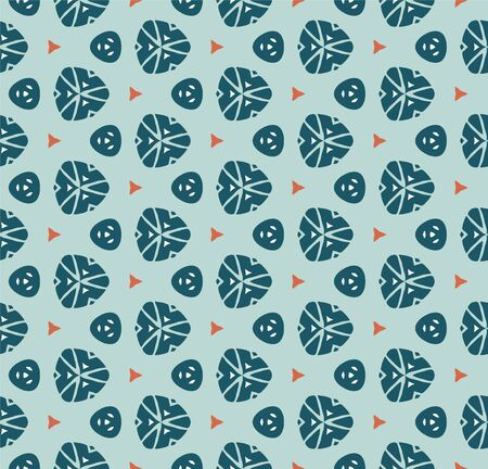 Vector seamless pattern with stylized tropical leaves and flowers