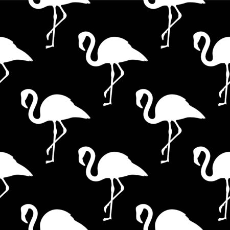 Vector seamless pattern with black and white flamingos Vettoriali