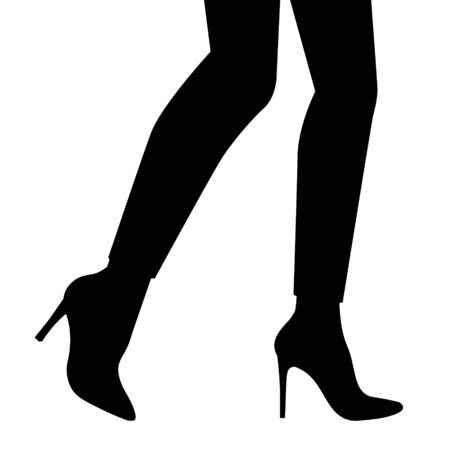 Women legs and feet with stylish footwear (black and white shoes). Flat design style. Vector illustration.