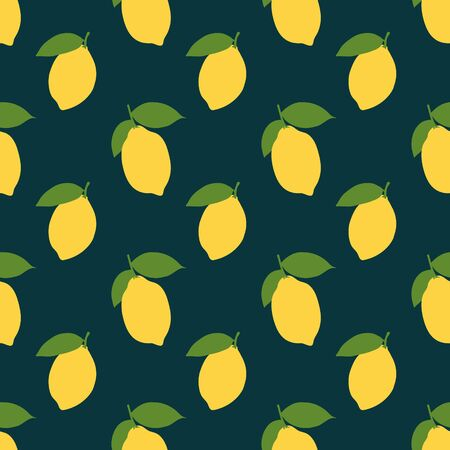 Vector summer pattern with lemons and leaves. Seamless texture design.