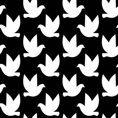Vector seamless pattern with birds silhouettes. Black and white
