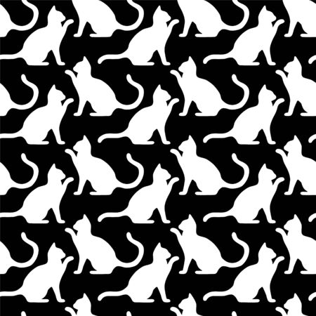Seamless pattern with cute kittens. Creative childish texture. Vector black and white Illustration. Vettoriali
