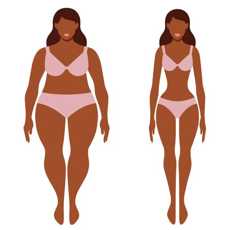 Fat and thin afro-american woman before and after concept vector illustration