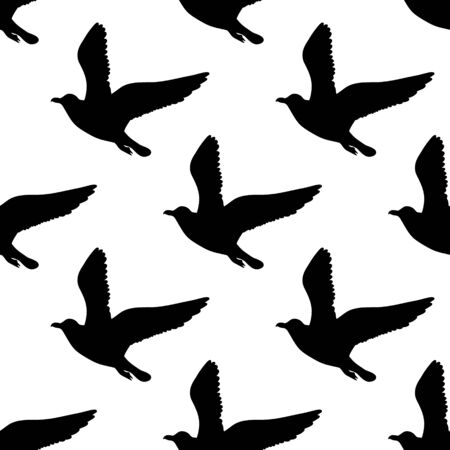 Vector seamless pattern with seagulls silhouettes. Black and white