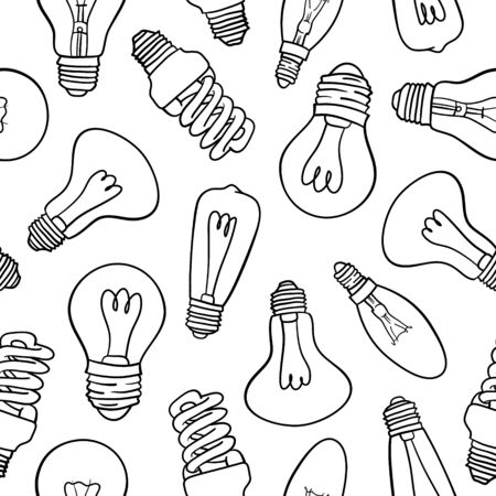 Vector seamless pattern with light bulbs. Hand drawn black and white design. Vettoriali