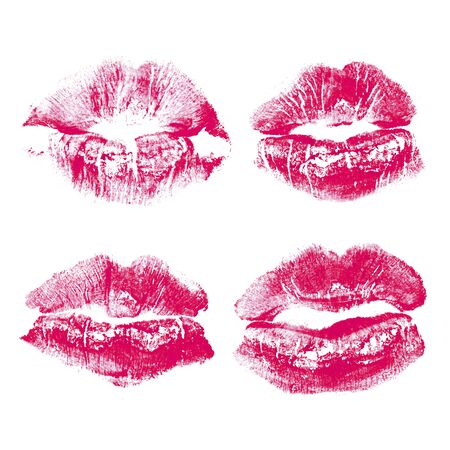 Set of imprint kiss pink lips isolated on white background