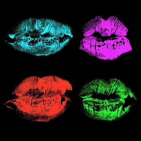 Set of imprint kiss neon lips isolated on black background