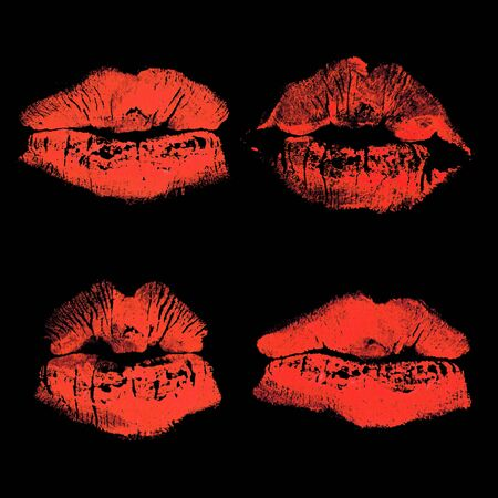 Set of imprint kiss red lips isolated on black background Archivio Fotografico