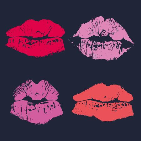 Set of imprint kiss pink lips isolated on background Vettoriali