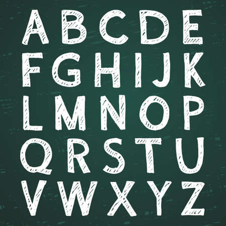 Hand-drawn alphabet. Calligraphy font. Modern chalk lettering. Letters on the green board