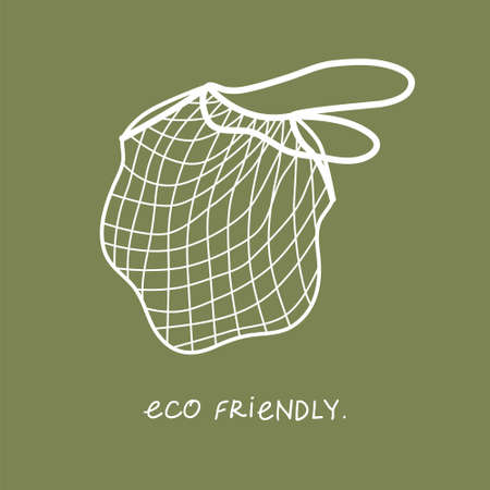 Vector illustration of isolated reusable grocery shopping bag. Ecology care
