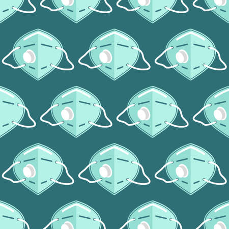 Vector seamless pattern with medical masks and respirators
