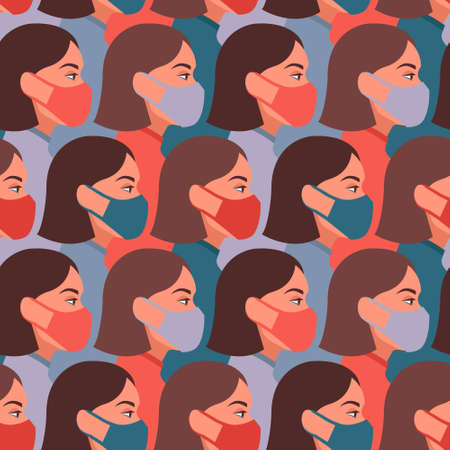 Vector seamless pattern with girls wearing face medical masks, respirators. Coronavirus COVID-2019 concept. Imagens - 161041268