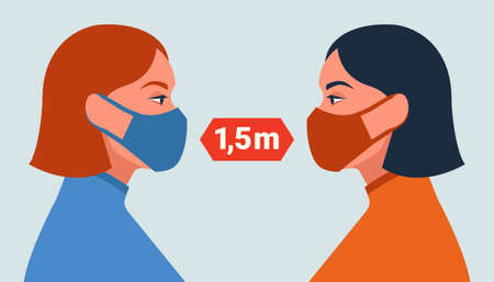 Female characters in masks. Social distancing concept. Vector illustration in flat style.