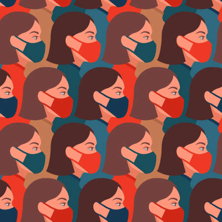 Vector seamless pattern with girls wearing face medical masks, respirators. Coronavirus COVID-2019 concept.