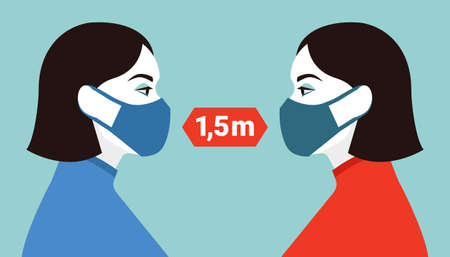 Female characters in masks. Social distancing concept. Vector illustration in flat style. Imagens - 161041272