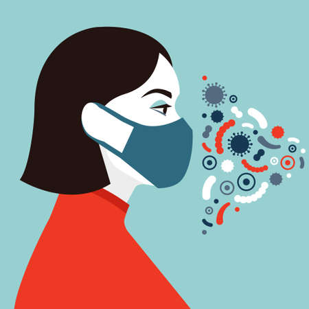 Female character wearing protective mask. Social antivirus concept. Vector illustration in flat style. Imagens - 161041273