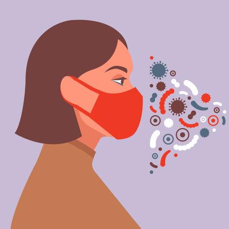 Female character wearing protective mask. Social antivirus concept. Vector illustration in flat style. Ilustração