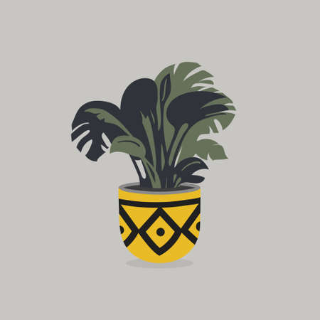 Vector pot with house flower isolated on colorful background Imagens - 161164440
