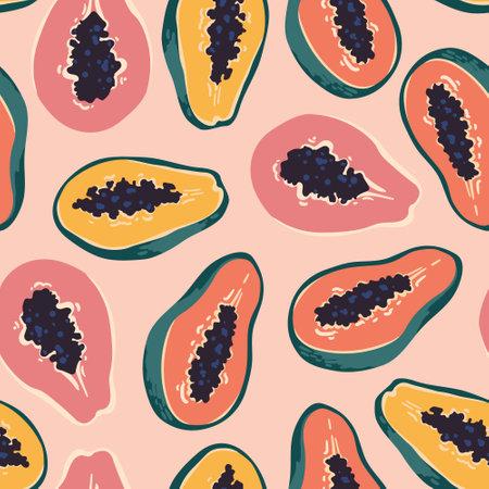 Vector summer pattern with papaya. Seamless texture design.