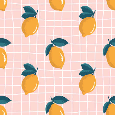Vector seamless summer pattern with lemons on retro geometry background.