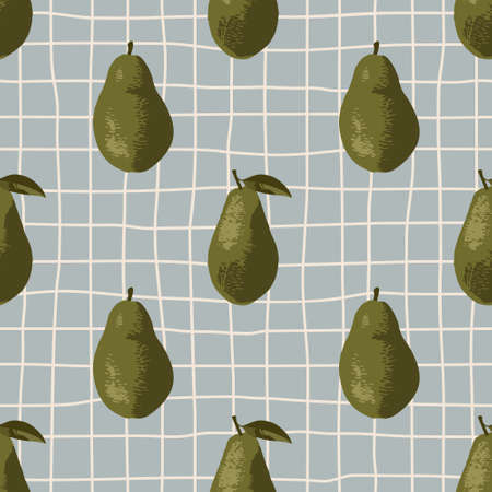 Vector seamless summer pattern with avocadoes on retro geometry background.