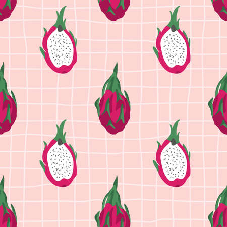Vector seamless summer pattern with dragon fruits on retro geometry background. Imagens - 161164455