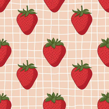 Vector seamless summer pattern with strawberries on retro geometry background. Imagens - 161164456