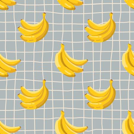 Vector seamless summer pattern with bananas on retro geometry background. Ilustração