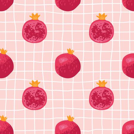 Vector seamless summer pattern with pomegranates on retro geometry background. Ilustração
