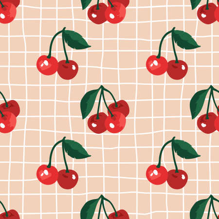 Vector seamless summer pattern with cherries on retro geometry background.