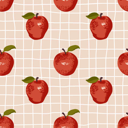 Vector seamless summer pattern with apples on retro geometry background.