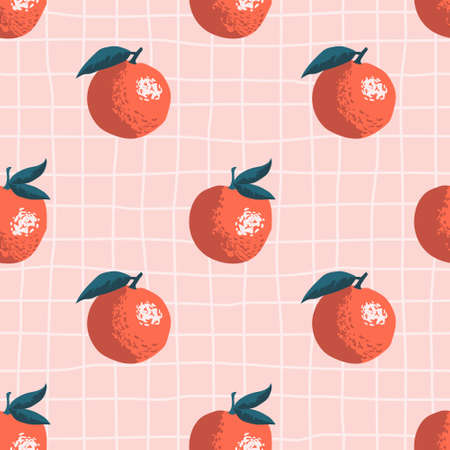 Vector seamless summer pattern with oranges on retro geometry background.
