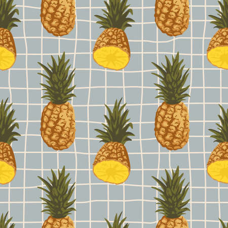 Vector seamless summer pattern with pineapples on retro geometry background.
