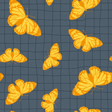 Vector seamless pattern with bright retro butterflies. Hand-drawn texture design Imagens - 161181381