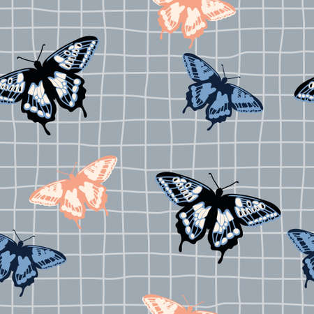 Vector seamless pattern with bright retro butterflies. Hand-drawn texture design Imagens - 161181383