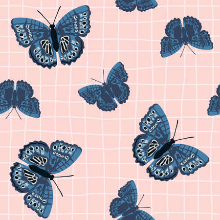 Vector seamless pattern with bright retro butterflies. Hand-drawn texture design Imagens - 161181379