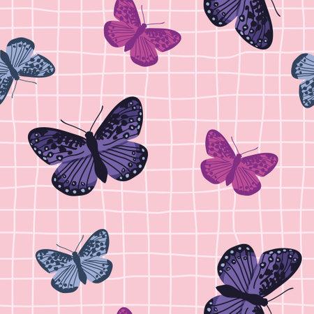 Vector seamless pattern with bright retro butterflies. Hand-drawn texture design Ilustração