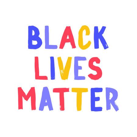 Black lives matter poster. Social media content banner anti racism. Hand-drawn calligraphy artwork
