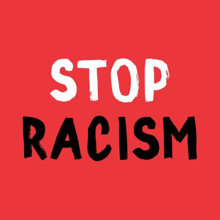 Stop racism poster. Social media content banner black lives matter. Hand-drawn calligraphy artwork Ilustração