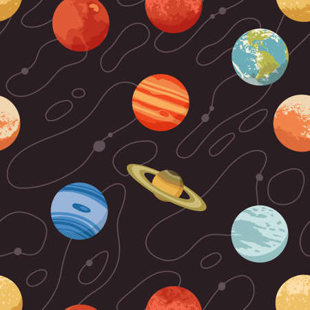 Vector seamless pattern with solar system planets and stars