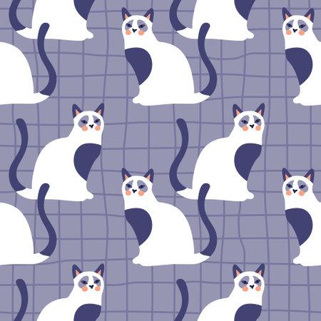 Vector seamless pattern with kittens. Creative retro childish texture.