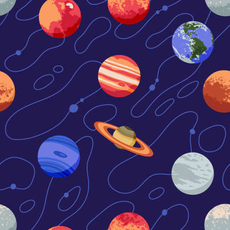 Vector seamless pattern with solar system planets and stars Imagens - 162691172