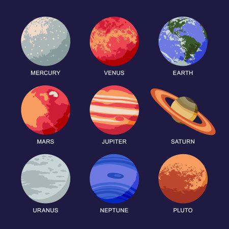 Vector illustration of isolated solar system planets: Mercury, Venus, Earth, Mars, Jupiter, Saturn, Uranus, Neptune, Pluto