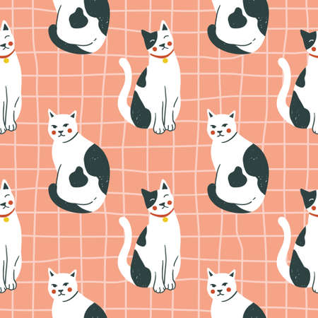 Vector seamless pattern with kittens. Creative retro childish texture. Imagens - 162691179