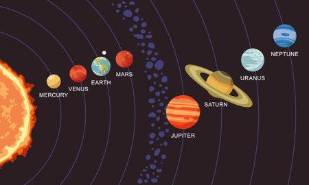 Vector illustration of solar system showing planets around the sun Ilustração Vetorial