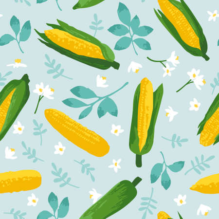 Vector summer pattern with sweet corns, flowers and leaves. Seamless texture design. Imagens - 162790266