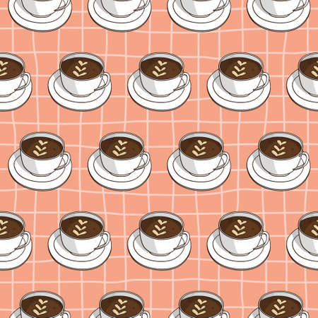 Vector seamless pattern with coffee cups. Retro creative design Imagens - 162790267