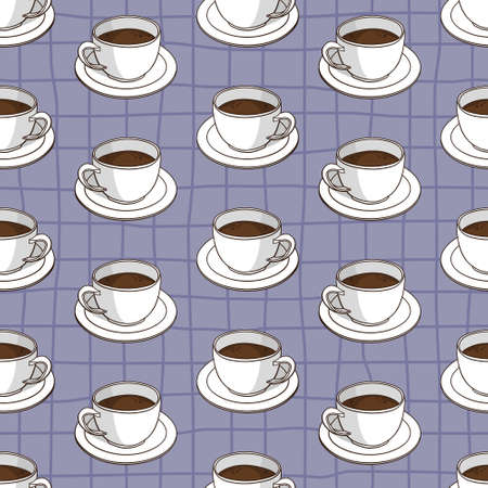 Vector seamless pattern with coffee cups. Retro creative design
