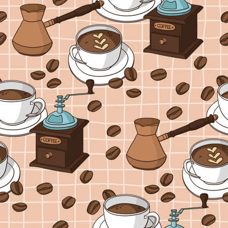Vector seamless pattern with coffee cups, coffee grinder, coffee fryer, coffee beans. Imagens - 162790273